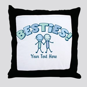 CUSTOM TEXT Besties (blue) Throw Pillow